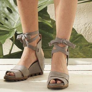 Sorel Joanie Tie Up Wedge Sandals US 8